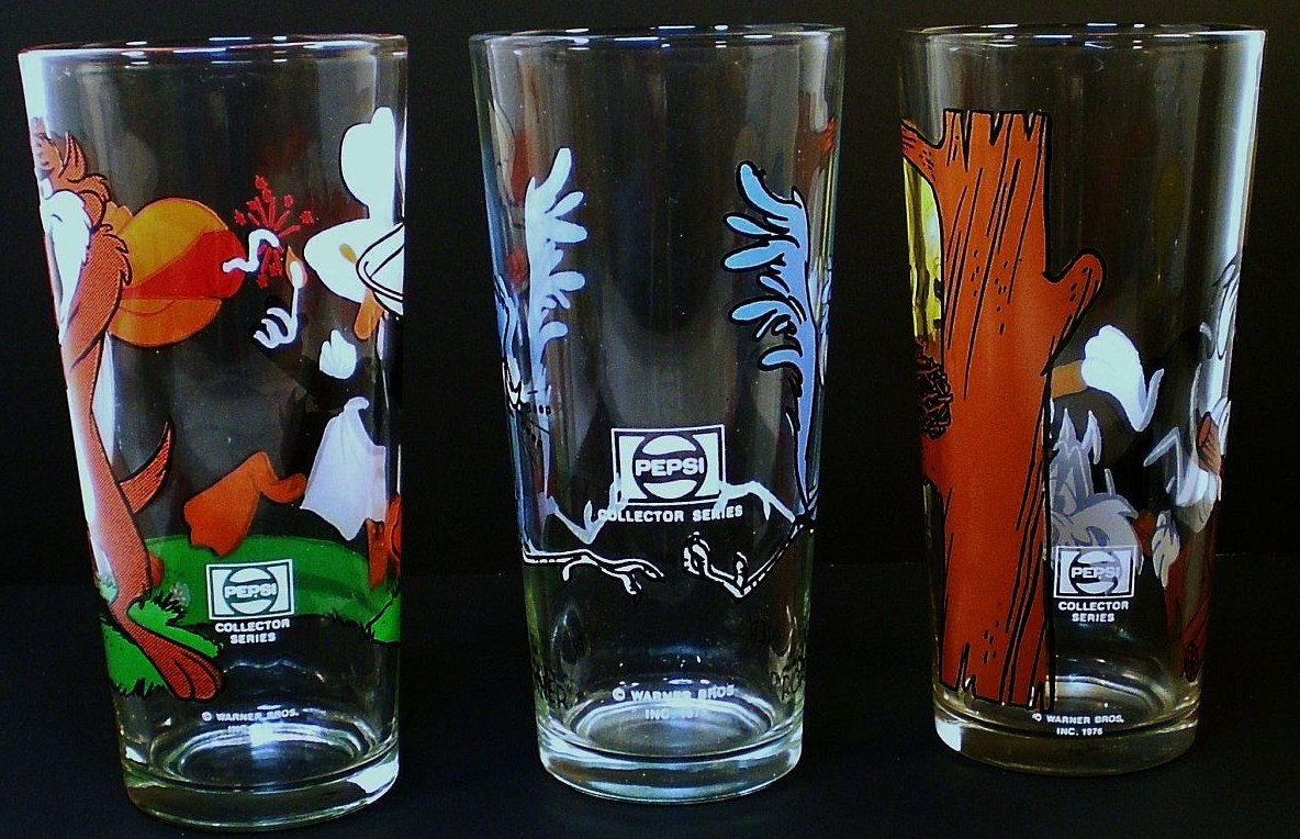 Image 2 of Pepsi Collector Series Warner Brothers Glasses 3 tumblers 1973 1976