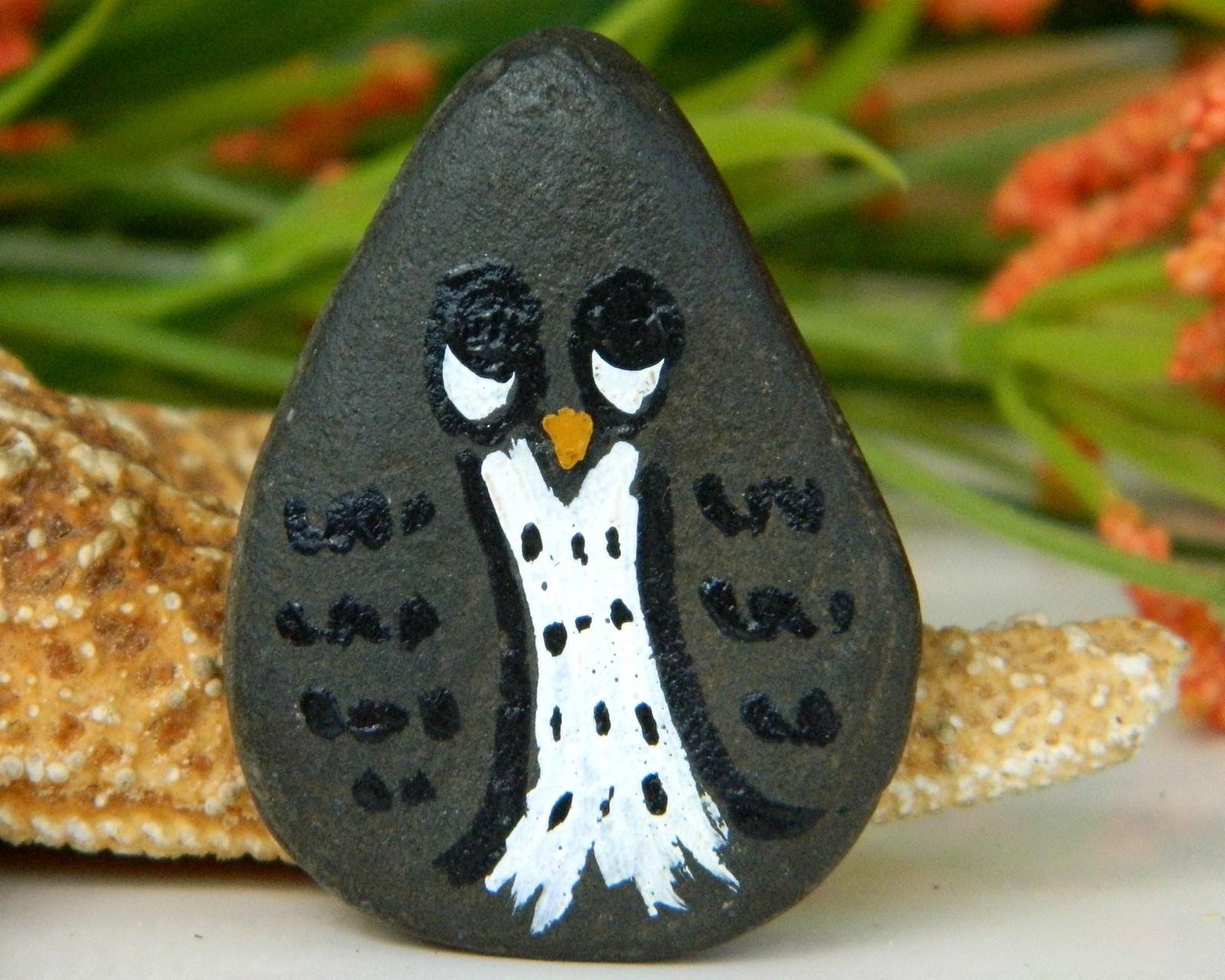 Owl Bird Brooch Pin Hand Painted Stone Pebble Rock Art Owls