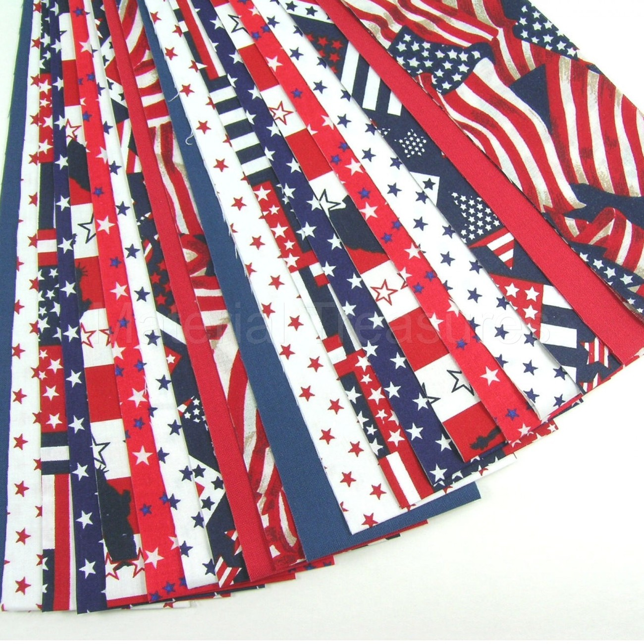Patriotic Cotton Quilt Fabric Jelly Roll 20 Strips Red
