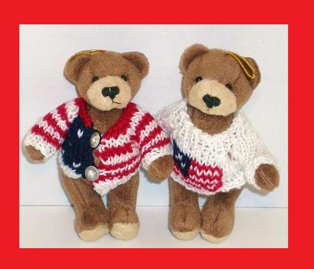 Patriotic bear ornaments Old Gloria and Americana Sam