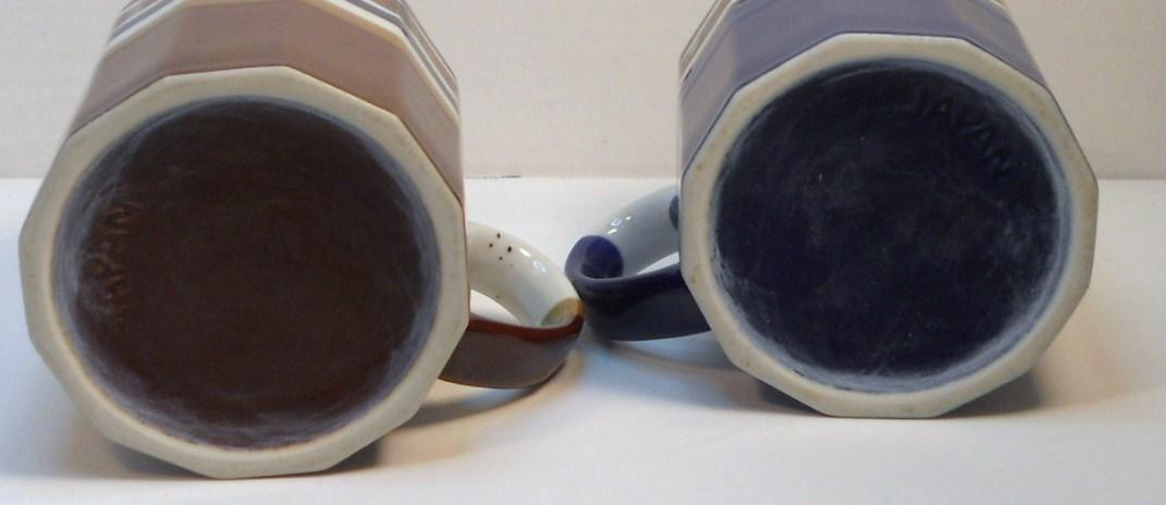 Image 2 of Ceramic coffee tea mugs multi-sided shaped blue brown Japan