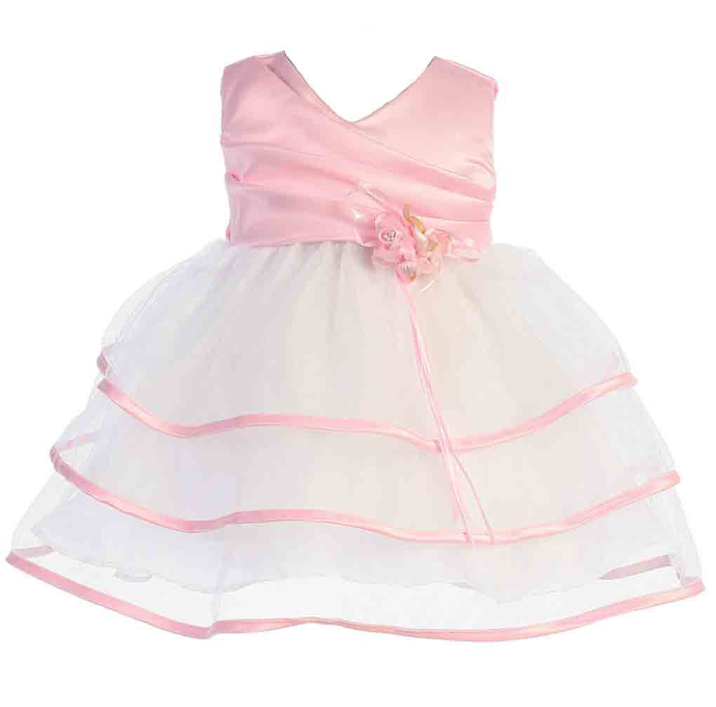 Image 1 of Sweet Baby Girl Posh Fuchsia or Pink/White Flower Girl Pageant Party Dress