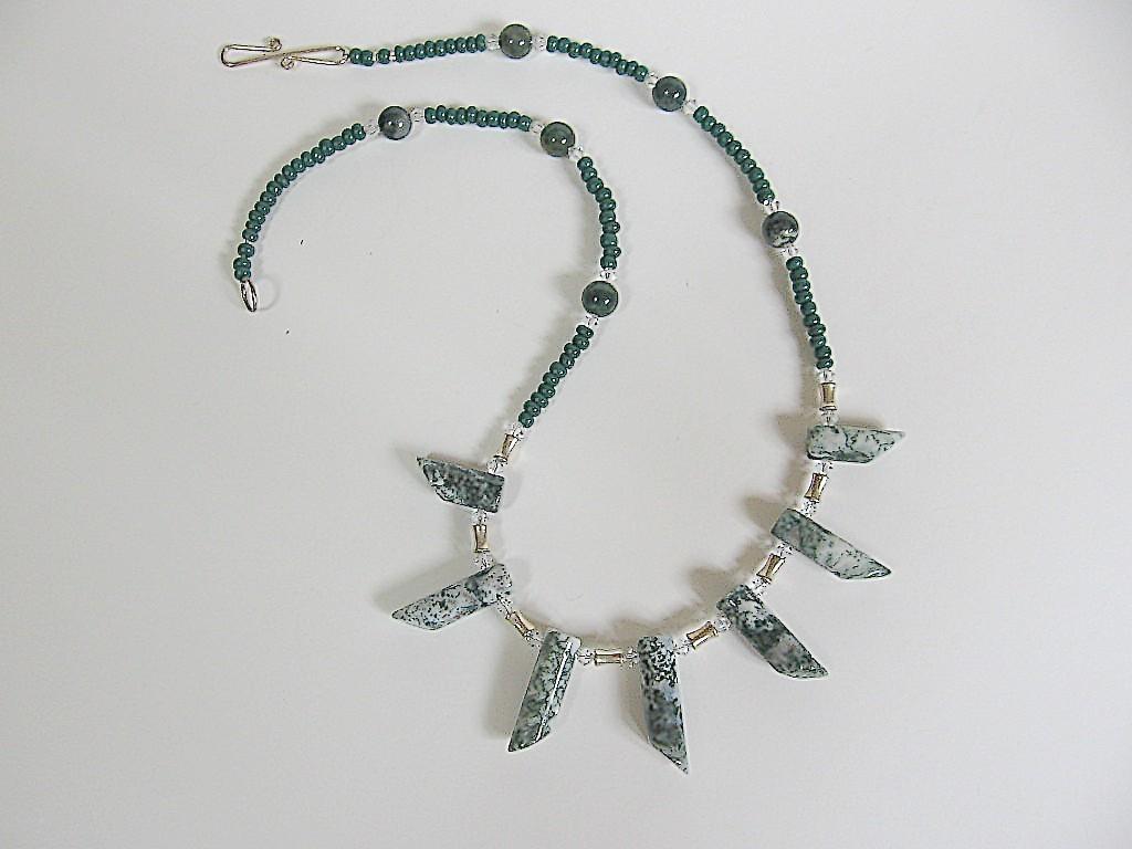 Unusual Handmade Moss Agate Necklace Bonanza