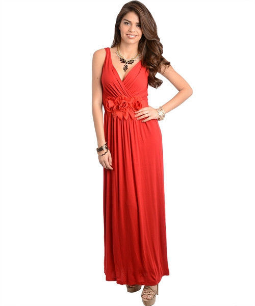 Image 0 of Sexy Party Cocktail Club Cruise Maxi Dress w/Fabric Roses, Black or Red