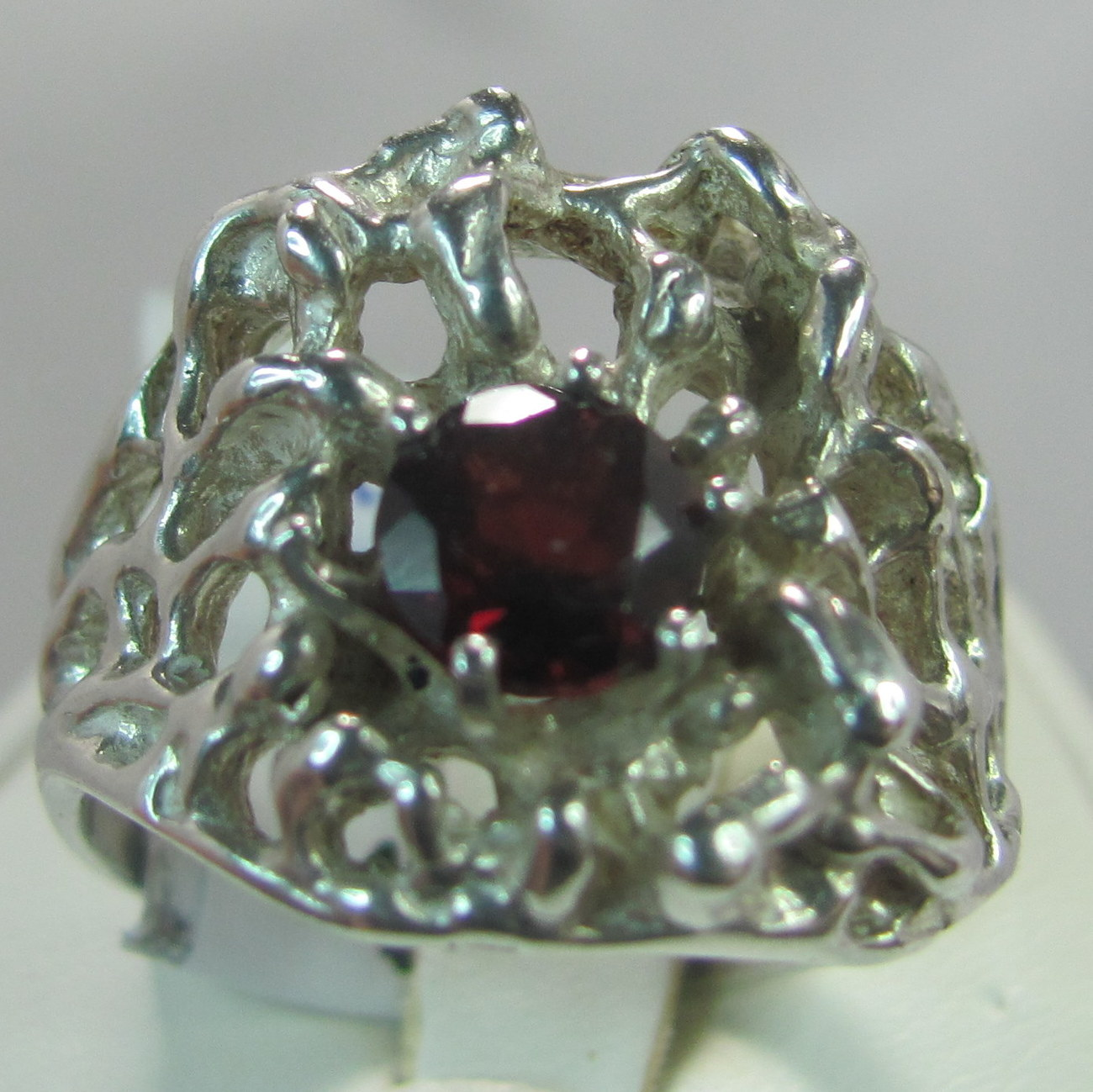 Garnet Gemstone 6mm round mens freeform siize 9 Sterling Silver ring  Bonanza