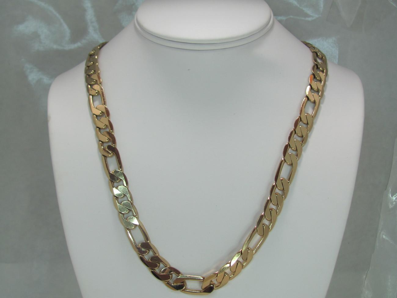 22in figaro bevelled fashion chain 24kt gp  Bonanza