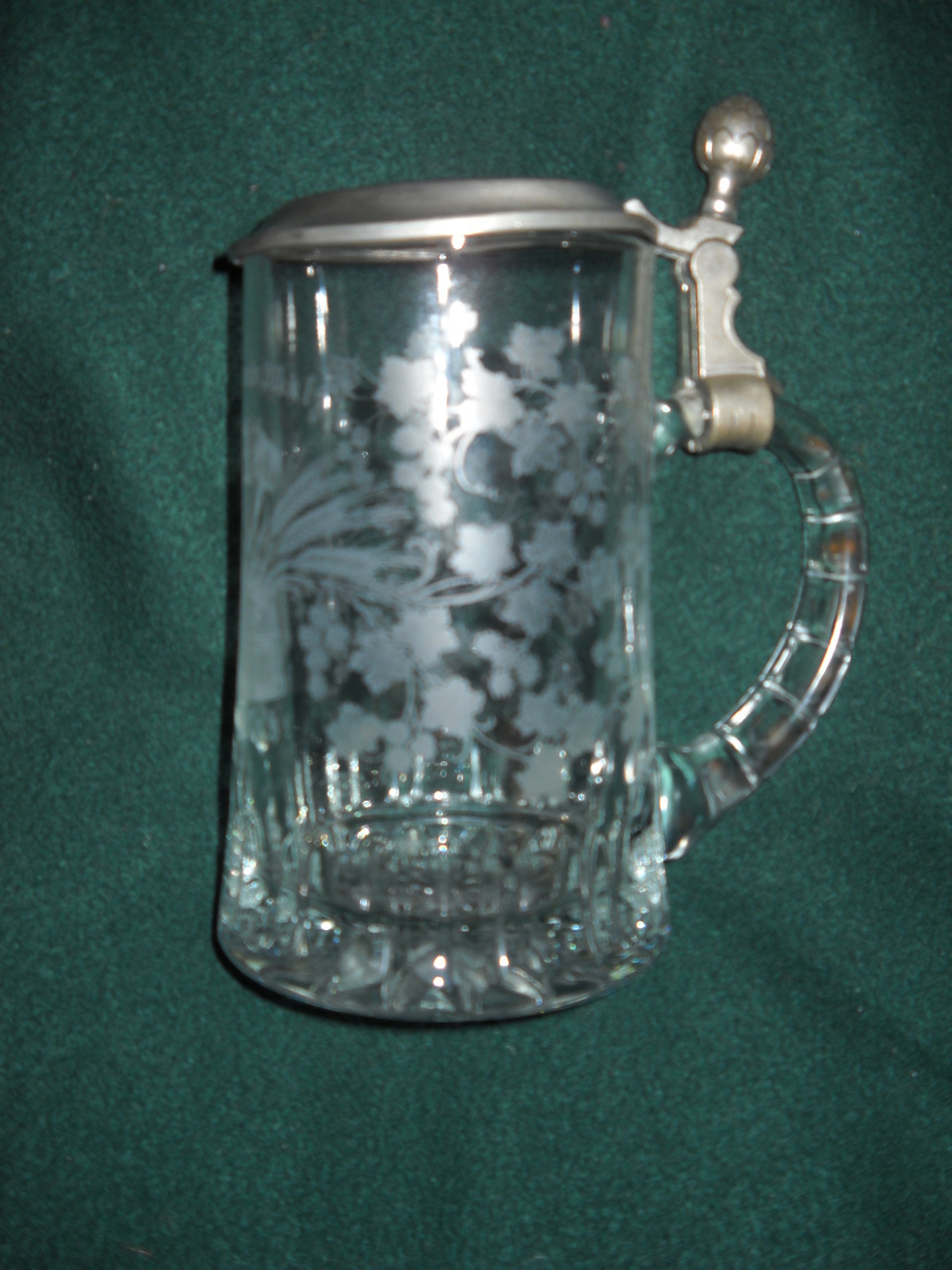 W Germany Lidded Stein BMF Zinn Crystal with Etc