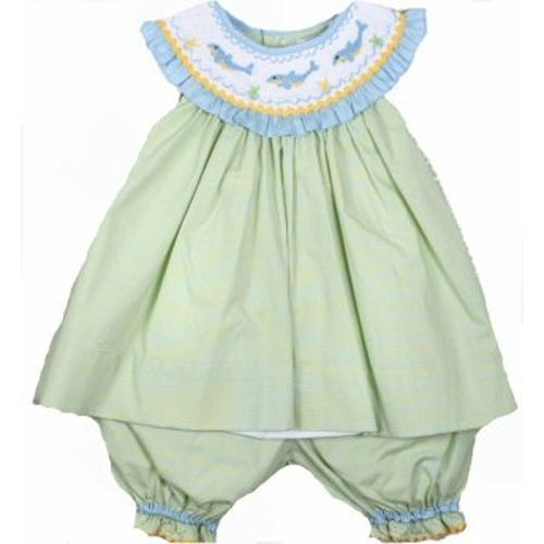 Image 1 of Adorable Green Aqua Petit Ami Smocked Dophin Girl Boutique Set, Angel Sleeve - 3
