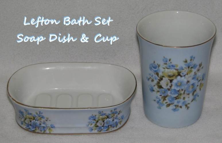 Vintage Lefton Soap Dish & Cup Bath Set Blue Floral  Bonanza
