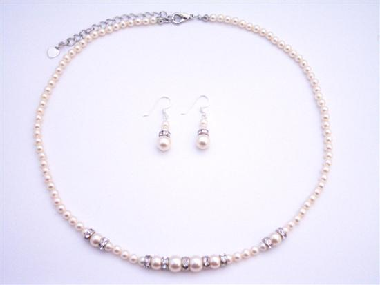 Dainty Tiny Ivory Pearls Necklace Set w/ Silver Rondells Spacer Fashion Jewelry For Everyone Collections
