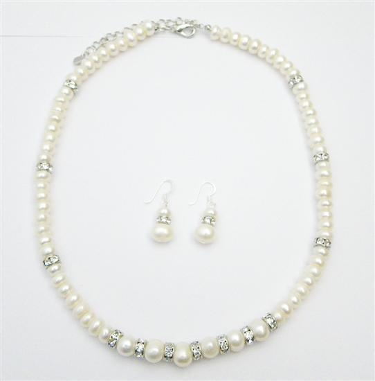 Freshwater Pearls Jewelry Silver Rondells Necklace Stunning Jewelry Fashion Jewelry For Everyone Collections