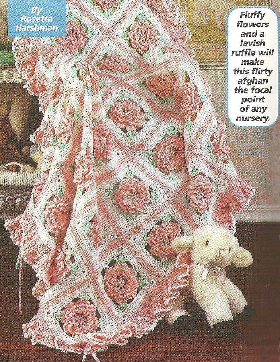 Ruffles Amp Roses Baby Afghan Birthday Cake Crochet Patterns Afghans