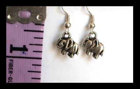 Tibetan Silver Happy Elephant Charm Earrings