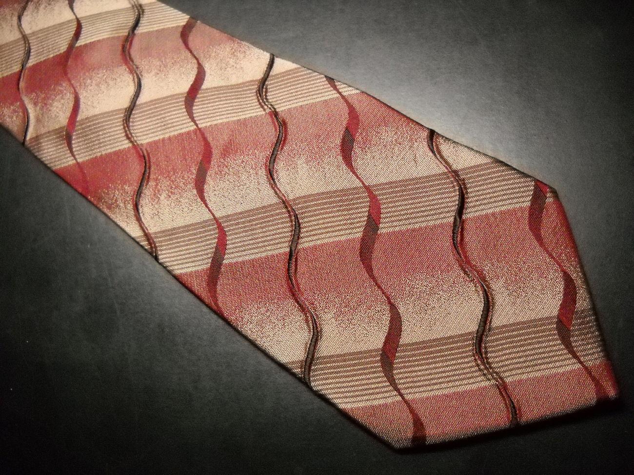 Emilio Ponti Silk Neck Tie Textured Ragged Rusts and Browns Emilio Ponti