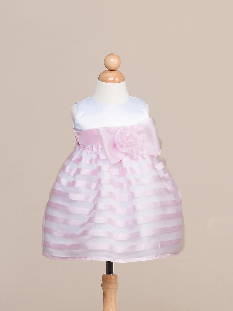 Image 1 of Stunning Pink Striped White Top Flower Girl Party Pageant Dress, Crayon Kids USA