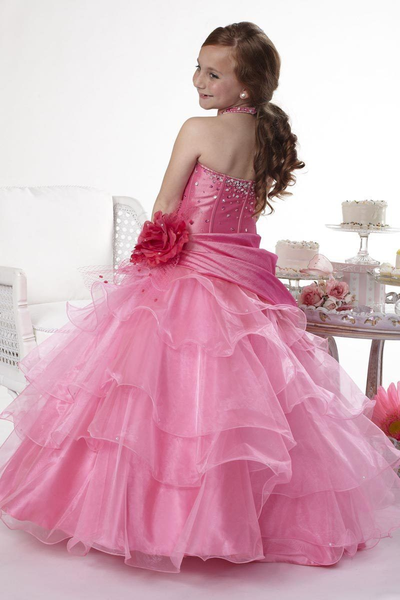 Image 1 of Tiffany Princess Little Girls' Beaded Ruffled Pageant/Flower Gown Dress 4 Pink