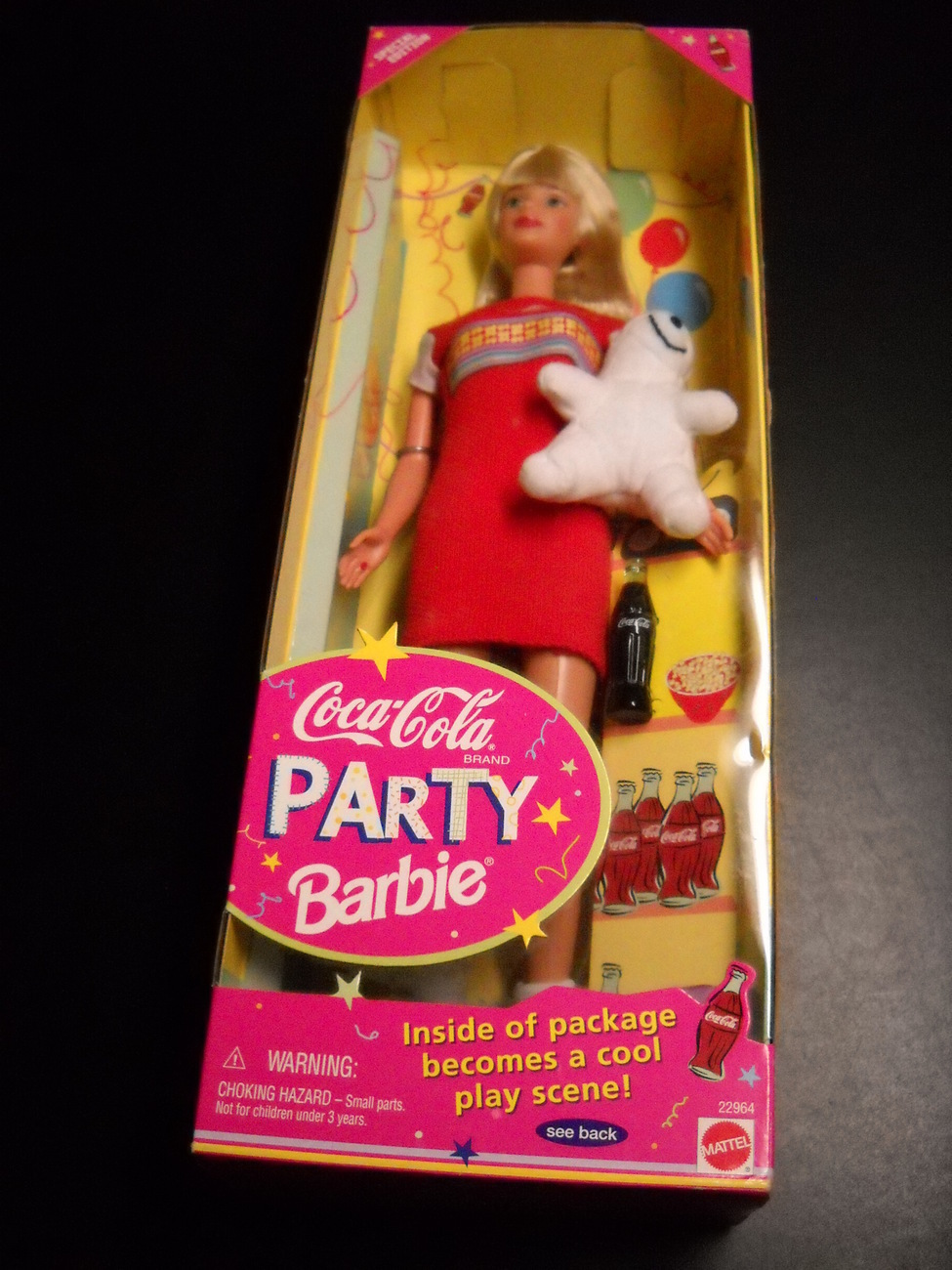 Barbie Coca Cola Party Barbie 1998 Mattel Cool Play Scene and Bear in Sealed Box Mattel, Mattel Barbie