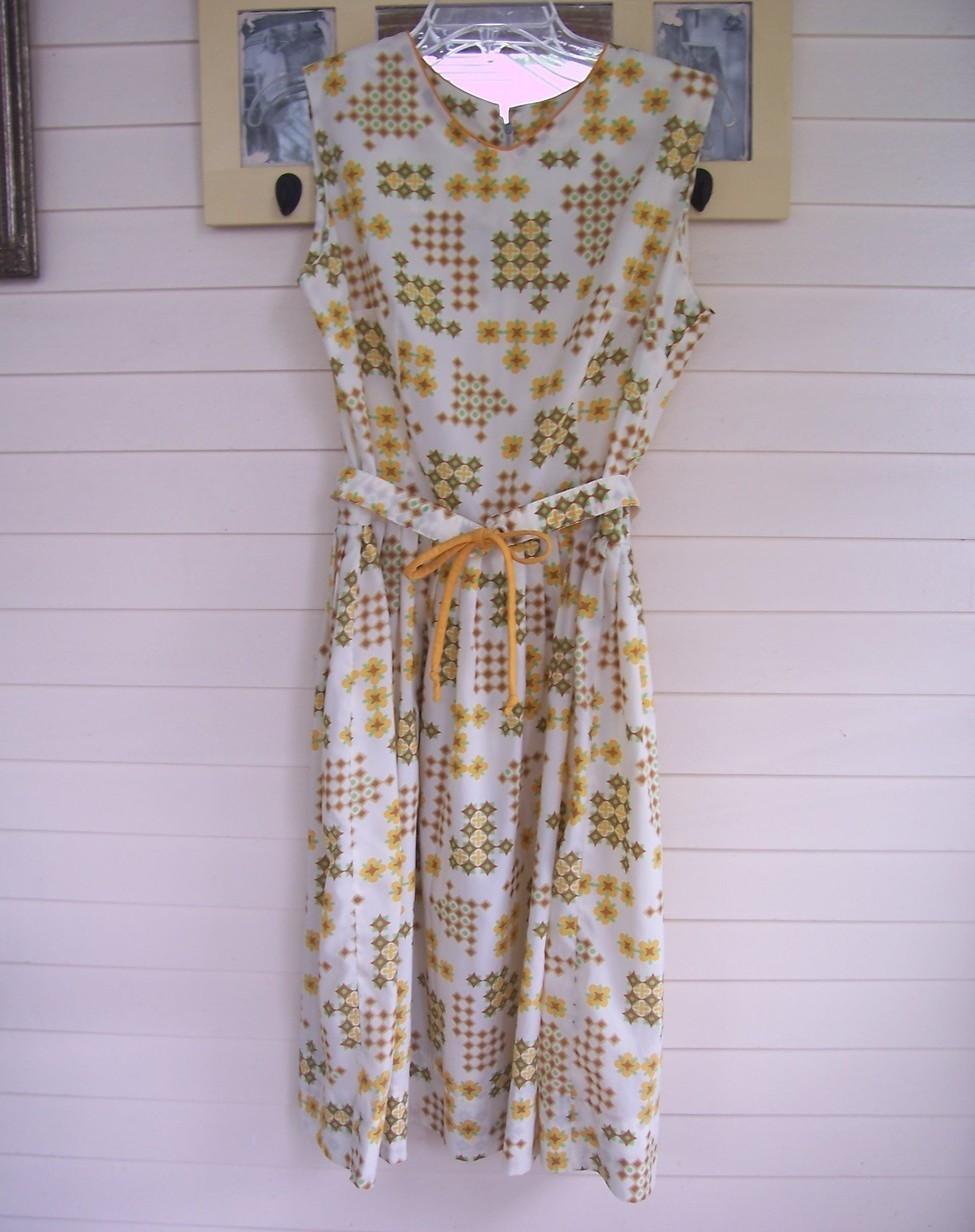 Rockabilly Dress - Gold/Brown/Green/Cream - Bust 40