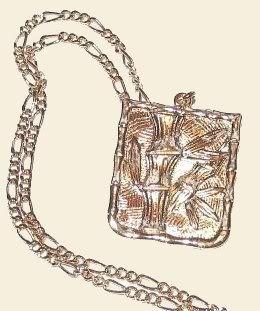 Gold Tone Chain Necklace with Bamboo Design Pendant New Bonanza