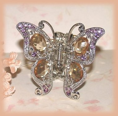 Victorian Butterfly Hair Clamp Pink-Amber Crystals Ornate Silvertone New Bonanza