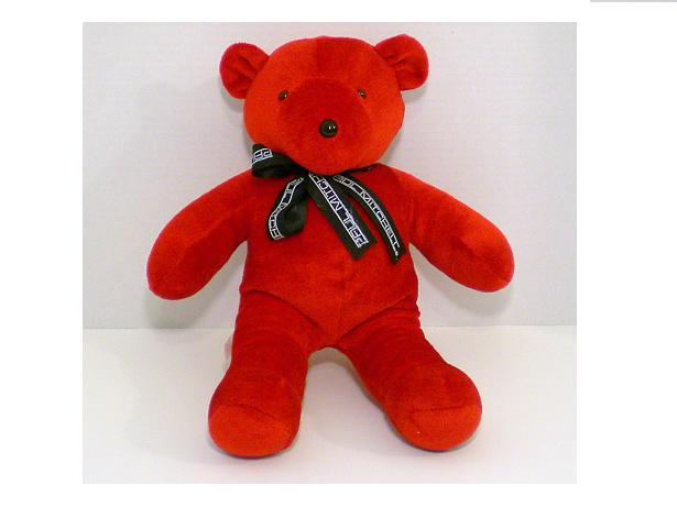 Red velveteen plush teddy bear 1993 from Paul Mitchell