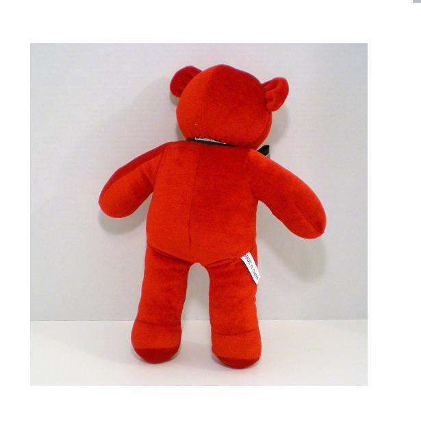 Image 1 of Red velveteen plush teddy bear 1993 from Paul Mitchell