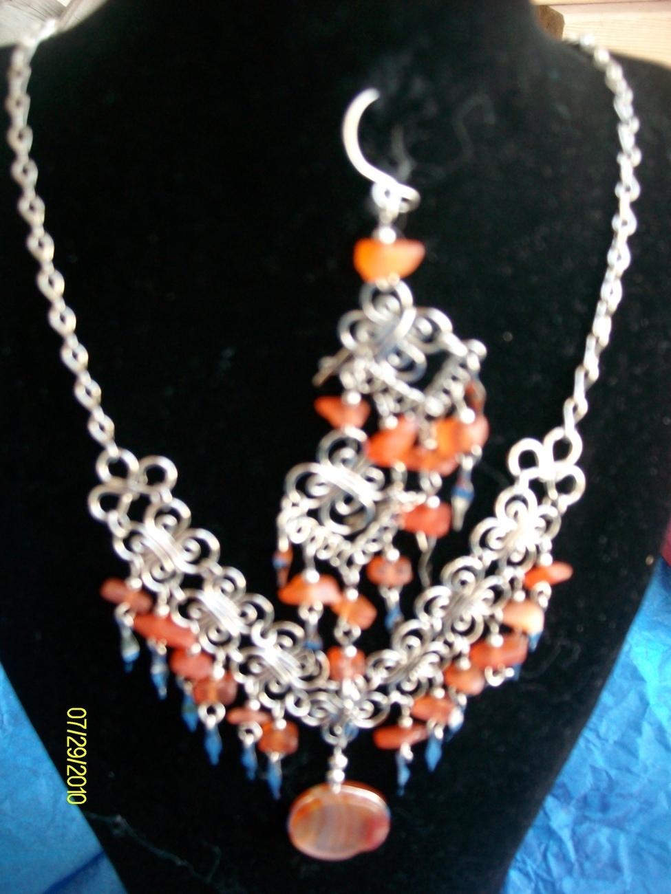 Lt. Orange Alpaca Necklace & Earring Set (S 5) Bonanza