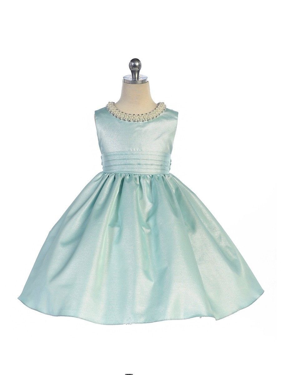 Stunning Sage Satin Flower Girl Pageant Dress w/ Beaded Neckline, Crayon Kids -