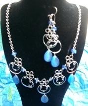 Aqua Cat's Eye Circular  Necklace & Earring (S 4) Bonanza