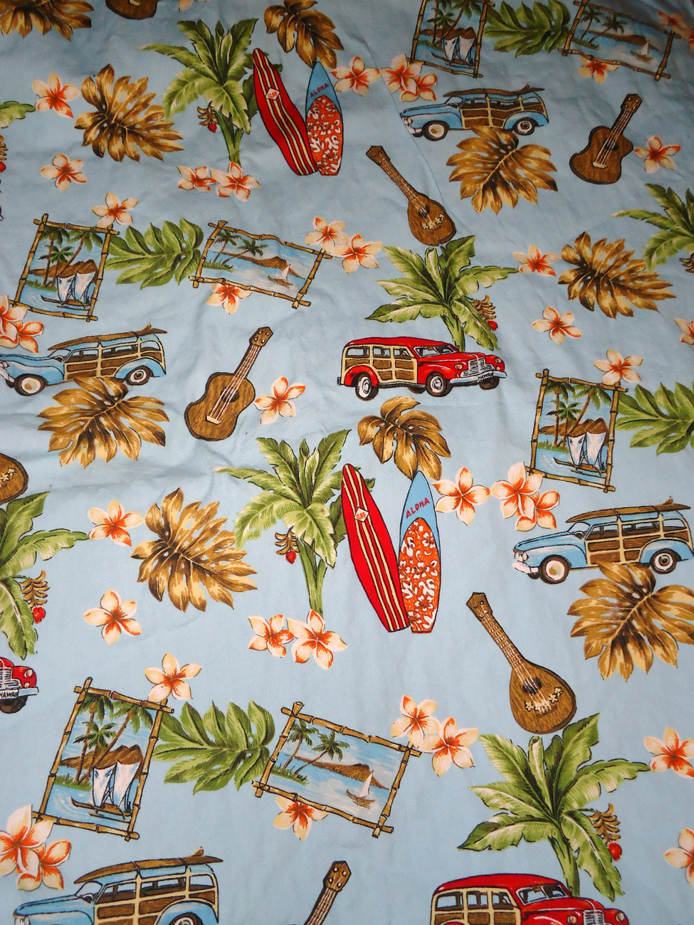 Hawaiian Print Baby Blanket Surfing Floral Car Print Red Minky Trim
