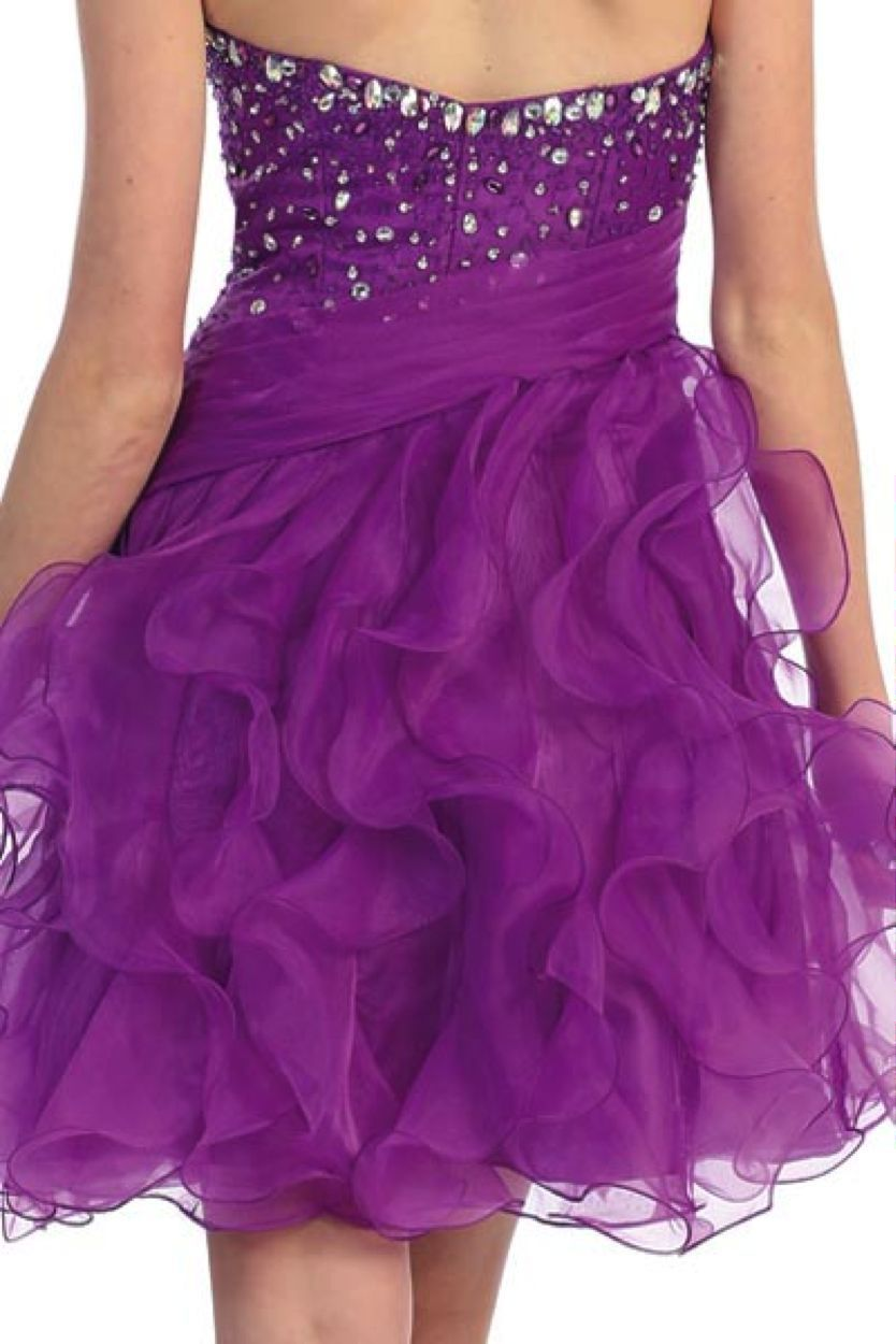 Image 2 of Sexy Strapless Beaded Bodice Ruffled Skirt Short Prom Party Missy Formal Dress -