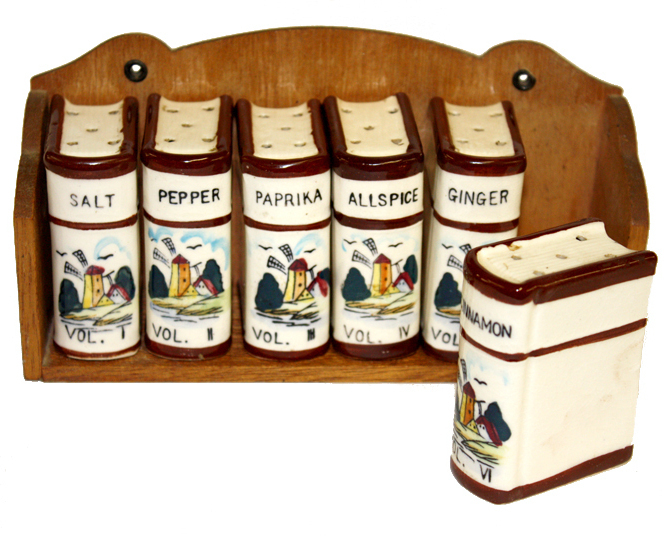 Vintage Spice Set Windmill Book Rack Shakers Made in Japan Ceramic  Wood