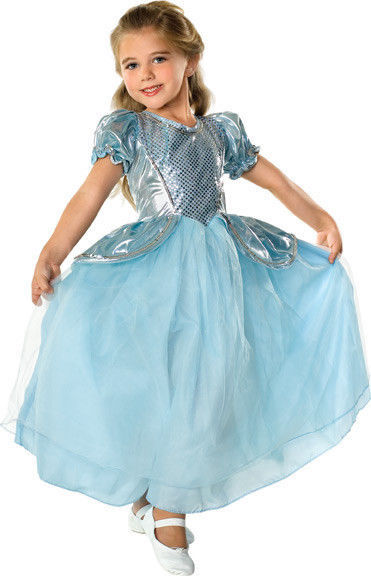 Beautiful Cinderella Palace Princess Aqua Ball Gown Polyester Costume, Rubies -