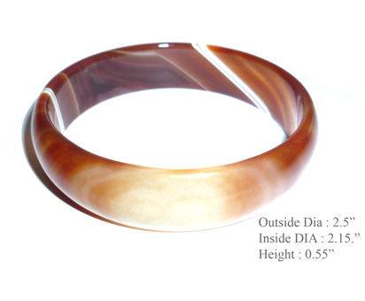 Brown Jade Agate Ripple Bangle Bracelet