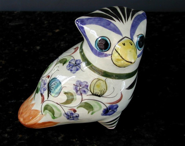 Vintage Mexican Pottery Bird Signed CAT Mexico