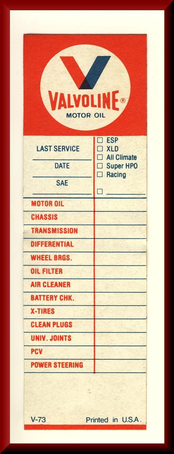 Vintage unused valvoline motor oil change engine for Valvoline motor oil coupons