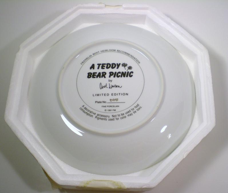 Image 1 of Teddy Bear Picnic Franklin Mint decorative plate 1991