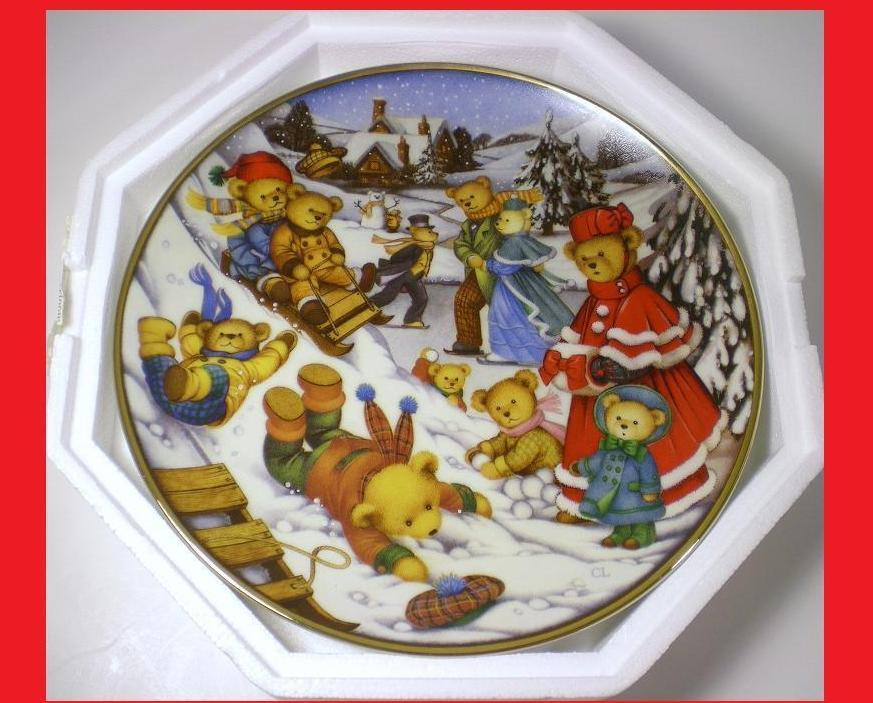 Teddy Bear Winter Frolic Franklin Mint decorative plate 1993