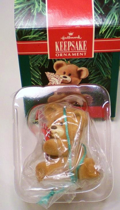 Image 1 of Beary Good Deal Hallmark Keepsake Ornament fuzzy Bear 1990