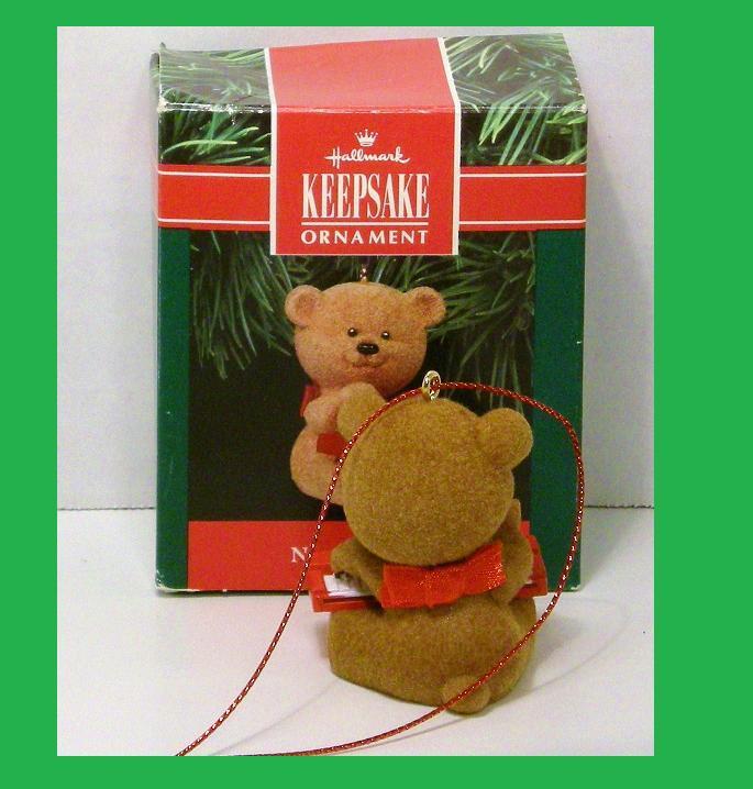 Image 1 of Notes of Cheer Hallmark Keepsake ornament fuzzy bear 1991