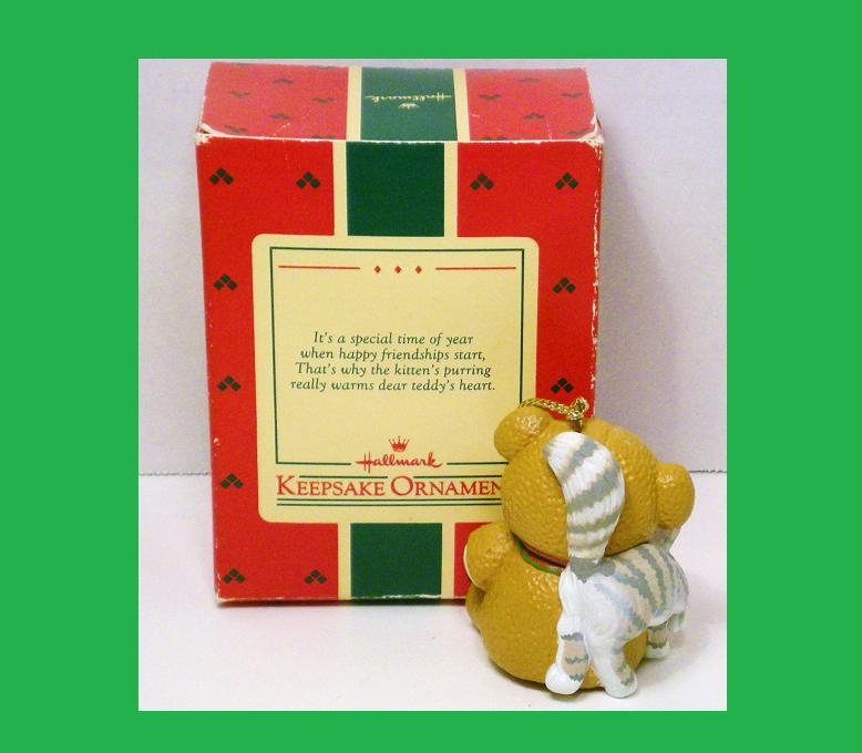 Image 1 of Purrfect Snuggle Hallmark Keepsake Ornament  bear cat 1988