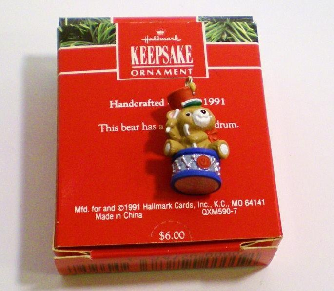 Image 1 of Upbeat Bear Hallmark Keepsake ornament miniature bear 1991