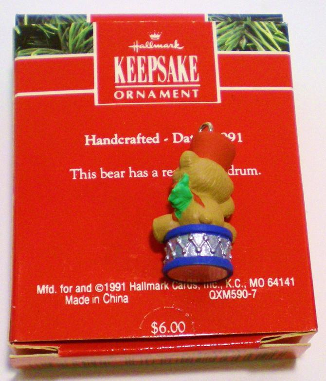 Image 2 of Upbeat Bear Hallmark Keepsake ornament miniature bear 1991