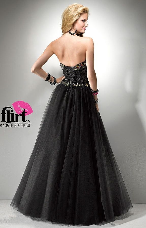 Image 4 of Sexy Strapless Black or Pink Beaded Prom Pageant Evening Gown Dress, Flirt 5794