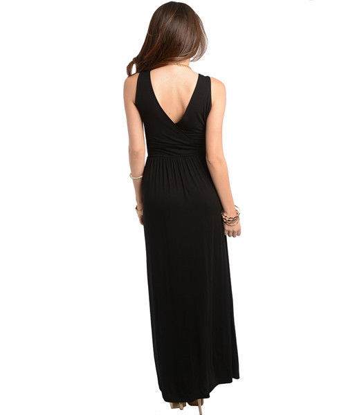 Image 3 of Sexy Party Cocktail Club Cruise Maxi Dress w/Fabric Roses, Black or Red
