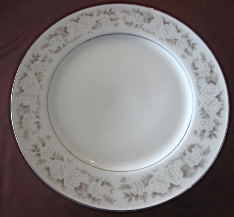 Adele Fine China, Pattern Number 6508 Gray and white roses, dinner plate. 1979