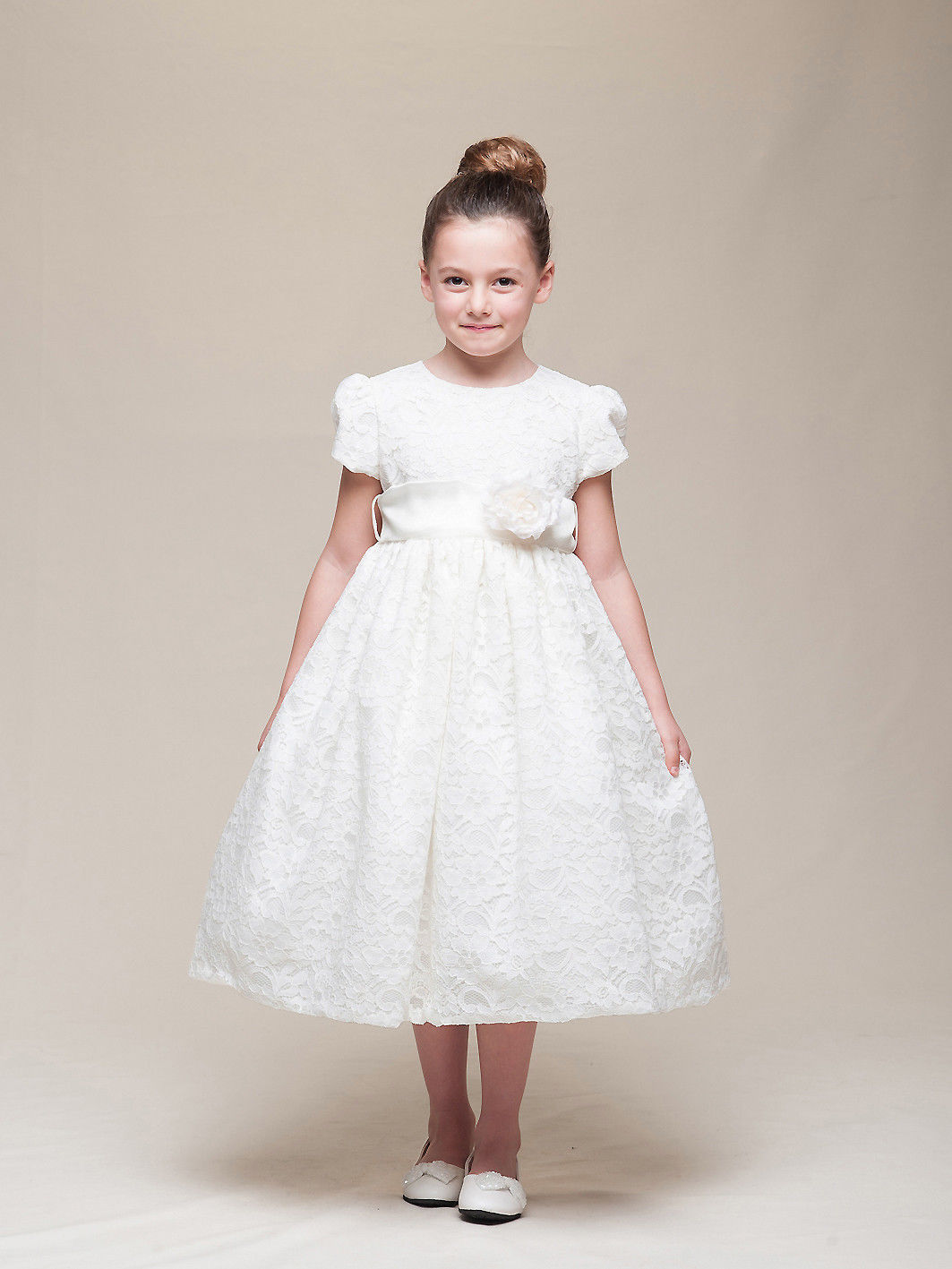 Stunning Ivory Lace Flower Girl Pageant Dress w/Rose Flower Crayon Kids USA - Iv