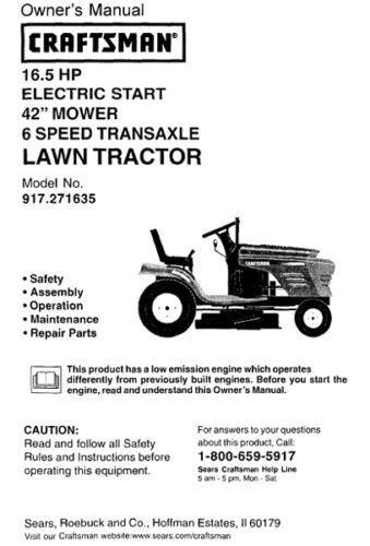 Craftsman Lt1000 Mower Manual