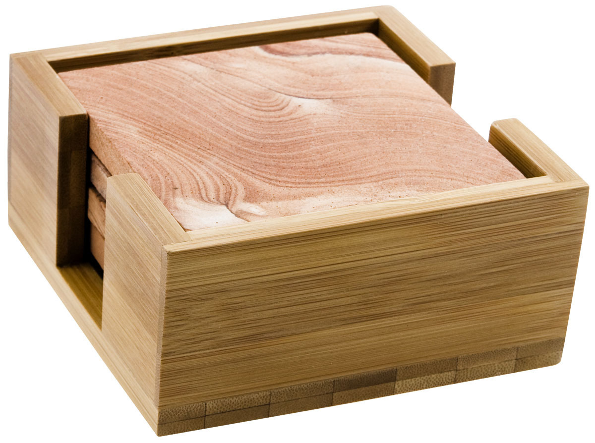 Wooden Drink Coaster Bamboo Wood Square Coaster Holder Coasters