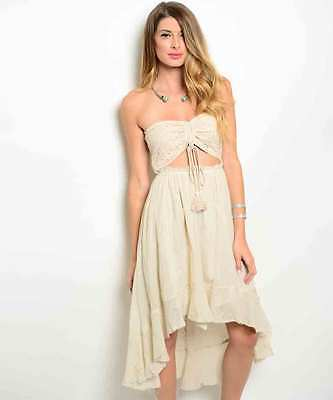 Image 0 of Sexy Juniors Strapless Cream Party Cruise Club Beach Hi-Lo Dress, 100% Cotton -